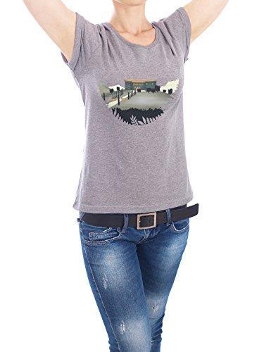 "Design T-Shirt Frauen Earth Positive ""Secret Castle"" - stylisches Shirt Geometrie Natur Reise Architektur von Romina Lutz Grau"