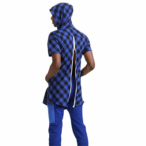 Pizoff Unisex Hip Hop Langes T-Shirt mit Karo Druckmuster Saum Reißverschluss P3123-Blue