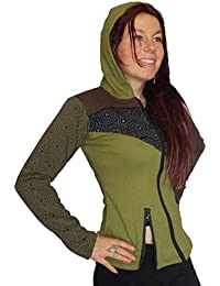 COSY SOFT BROWN GREEN BLACK PRINT WOMENS HOODED JACKET TOP S M 10 12 14 boho psy