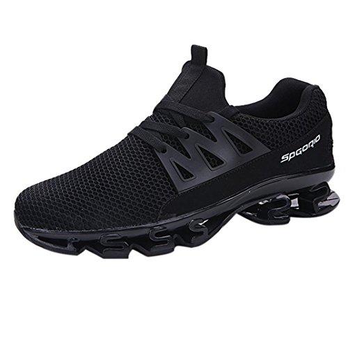 Laufschuhe Herren Sannysis Männer Lässig Gehender Sneaker Outdoor Sportschuhe Mesh Laufschuhe (46, Schwarz)