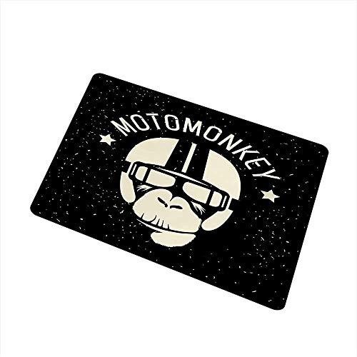 Astronaut Kostüm Alien - Kinhevao Weltraum Universal Fußmatte Sign Alien Monkey mit Astronauten Kostüm in Einer Galaxie mit Sternen Poster Fußmatte Bodendekoration, Schwarz und Weiß Badematte
