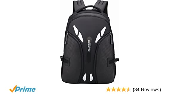 19046ecbb46 American Tourister Black Backpack (AMT SNAP BKPK 01 -BLACK)  Amazon.in   Bags