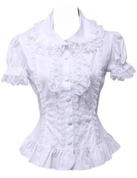 an*tai*na* Blanca Algodón Encaje Volantes Manga de Soplo Vintage Victoriana Lolita Camisa Blusa de Mujer