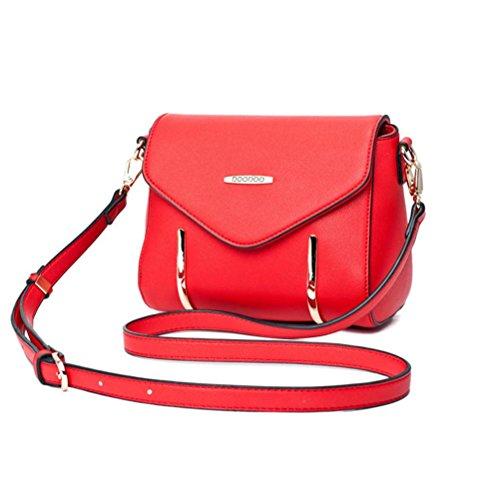 Signore Nuova Moda Coreano Borsa Tracolla Tote Bag Nero Rosso Rosa Viola Beige Rosso