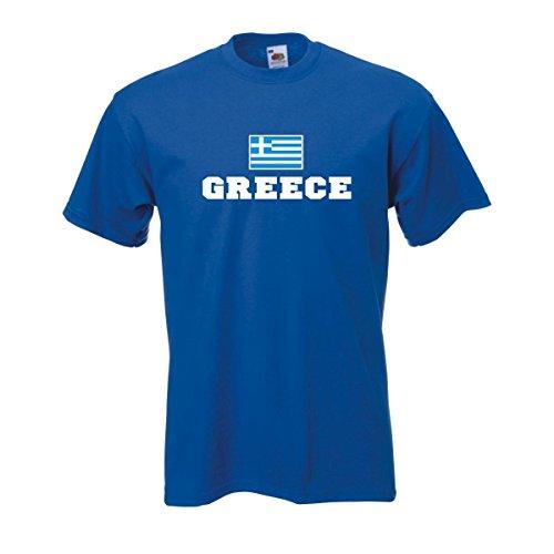 T-Shirt Griechenland Greece Flagshirt bedrucktes Fanshirt, Flagge und Schriftzug Geschenk Andenken für Besucher Gäste Fans (WMS02-23a) 4XL
