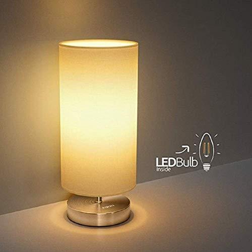Lampara Mesilla de Noche Lámpara de Mesa,TECKIN Luz Nocturna LED Moderna para Dormitorio, Sala de Estar, Habitación para Niños, Oficina Pantalla de tela cilíndrica(bombilla LED incluida)