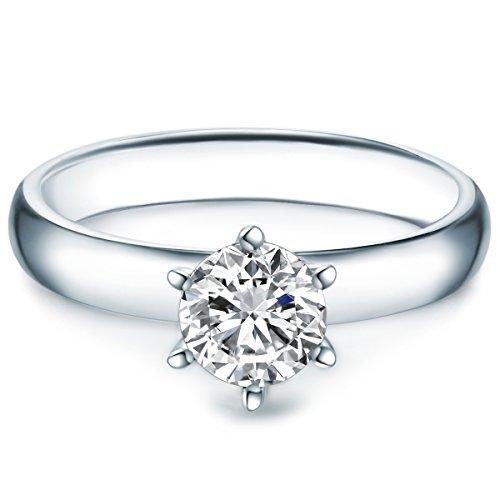 Tresor 1934 anello da donna / anelli solitario argento sterling 925 ornato con cristalli swarovski® bianco - anello di fidanzamento richiesta di matrimonio anello in argento da donna con pietri