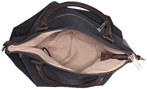 Bags4Less - F3151, Borsa a tracolla Donna Schwarz (Schwarz-Canvas)