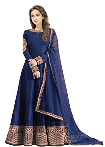 Florely Women's Blue Banglori Silk Sequined Unstiched Dress Material With Duppta(FreeSize)