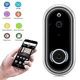 MUTANG Intelligente Videotürklingel-drahtlose Ring-Knopf-Ausgangs-Türklingel-HD 1080P Kamera, Zweiweggespräch, Nachtsicht, Pir-Bewegungserkennung gestützt für ISO Andriod-Telefone (Farbe : Silber)