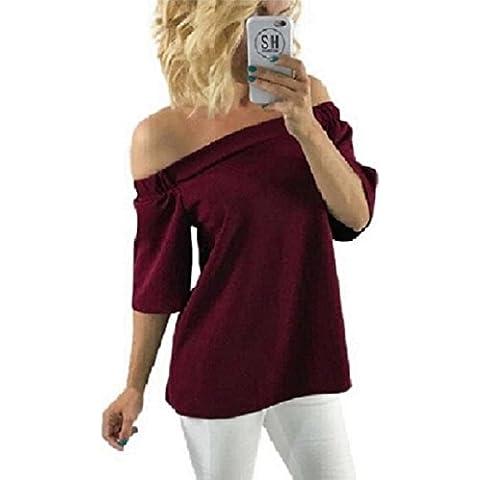 Culater® mujeres Camisa Hombro blusa ocasional camiseta de las tapas (M, Vino rojo)