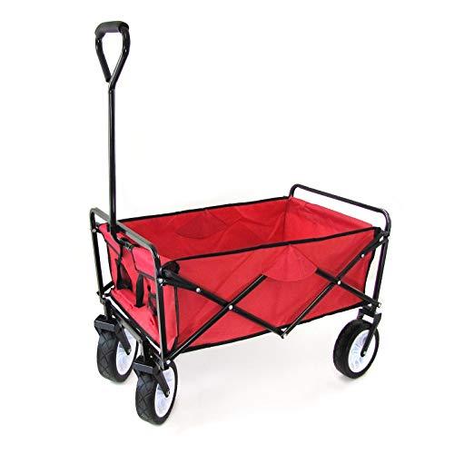 RAMROXX 34159 Garten Transport Faltwagen Handwagen Bollerwagen klappbar bis 80kg rot