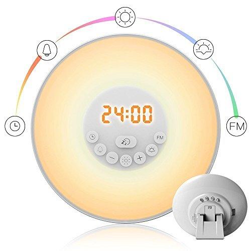 StillCool Wake Up Licht, Lichtwecker Tageslichtwecker Wecker mit licht Sonnenaufgang Simulation Dämmerung Fading Nachtlicht mit Natur Sounds, FM Radio, Touch Control (Weiß)