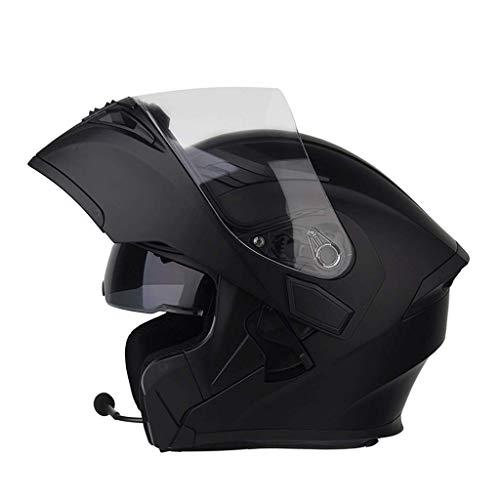 OUTO Aufdeckende Helm Motorrad Outdoor Riding Bluetooth Kopfhörer HD Anti-Fog-Spiegel Full Face Helm Männer Und Frauen Kühle Persönlichkeit (Farbe : Sub-Black, größe : M) (Motorrad Black Helm Full Face)