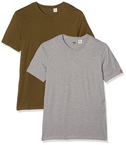 levis-slim-2-pack-crew-tee-t-shirt-uomo-verde-dark-olive-mid-melee-grey-24-large