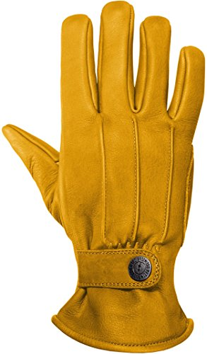 JOHN DOE Motorrad Handschuh Grinder Yellow | Innenseite mit Kevlar | Handschuh aus Rindsleder | Atmungsaktiv