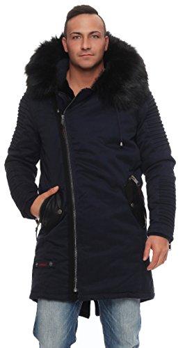 Marikoo Osaka Herren Winter Jacke Lange Parka Mantel Teddyfell warm gefüttert S - XXXL