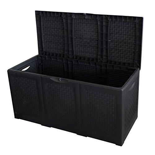 Multistore 2002 Kunststoff Auflagenbox rollbar 380L/120x52xH60cm Gartenbox Gartentruhe Kissenbox für Polsterauflagen Anthrazit
