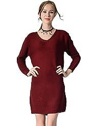 CeRui Mujer Pullover Vestido Largo Punto Suéter Abrigo a Manga Larga Suelto