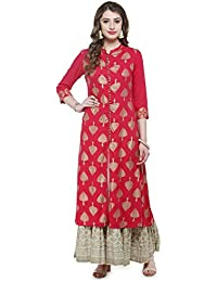 Varanga Pink Foil Printed Kurta KFF-VAR118028