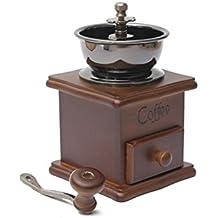 OULII Manuelle Kaffeebohne Hand Mühle Gewürz Kräuter Vintage-Stil aus Holz Retro-Burr Mühle Kaffeebohnen Schleifen Maschine Getreidemühle - Geschenk für Liebhaber