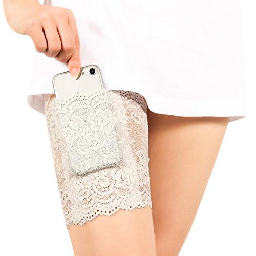 (Xidan FM8 Elastisch Weibliches Nicht-Ausrutschen- und friktionsbessbeständiges, Lace mit dünnem Band, Bleibsilikon- Griff& sicherliche Tasche, Handtasche mit Strumpfband(Weiß,S,1Stk))