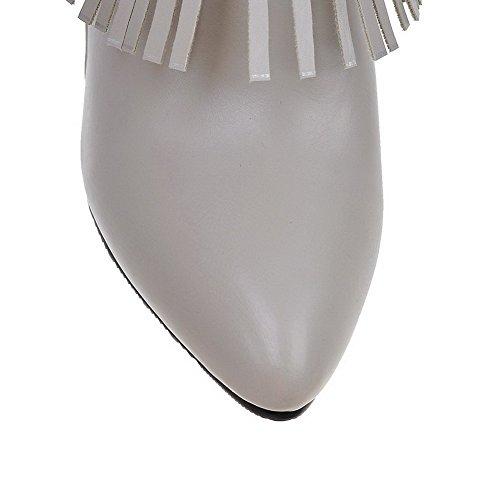 VogueZone009 Donna Puro Tacco Alto Cerniera Scarpe A Punta Stivali con Frange Grigio