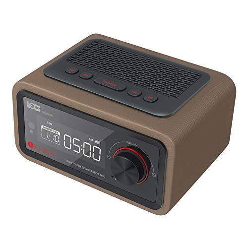 Yehyep Bluetooth-Wecker-Lautsprecher mit Digitalradio, Mini-FM-Radio LCD-Anzeigefeld Tragbare Uhr Unterstützung Freisprechanrufe Kompatibel mit Android/Ios-PC,D