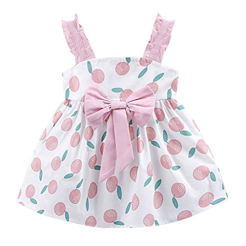 ate Kleid Baby Mädchen Früchte Gedruckt Bow Party Prinzessin Kleid Kleidung ()