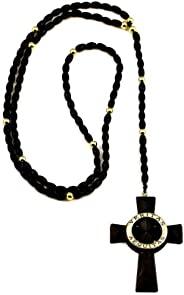 GWOOD Veritas Aequitas Wood Pendant Black and Gold Color 34 Inch Plus 5 1/2 Inch Drop Rosary