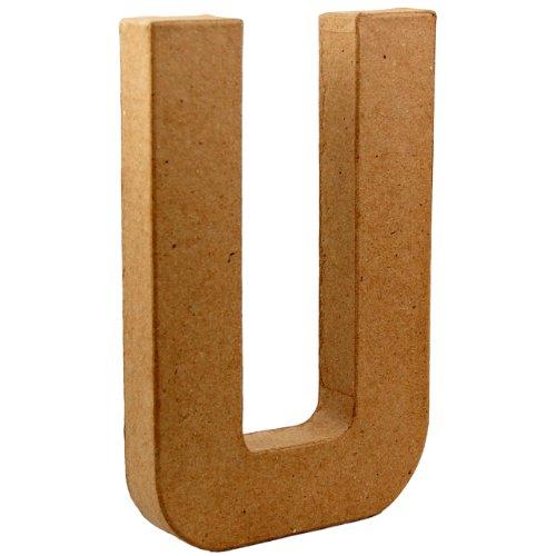 country-love-crafts-825-inch-205cm-3d-letter-u-papier-mache