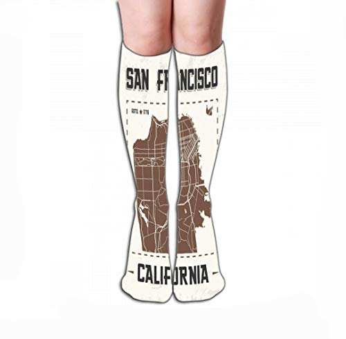 Xunulyn Hohe Socken Men Women Outdoor Sports High Socks Stocking san Francisco Vintage Graphic Design City map Print Typography Label Badge Emblem Tile Length 19.7
