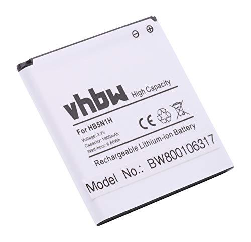 vhbw Akku 1800mAh (3.7V) für Handy Telefon Smartphone Cricket, Huawei Ascend, MetroPCs, T-Mobile myTouch wie HB5N1, HB5N1H, BCC1023.