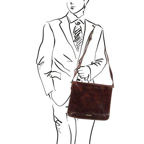 Tuscany Leather Messenger double - Freestyle - Borsa in pelle Testa di Moro Cartelle in pelle Nero