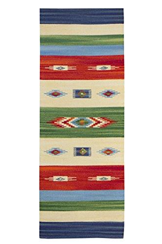 Jute & co. kilim tappeto, passatoia in cotone di alta qualità tessuto a mano, multicolore, 60 x 160 cm