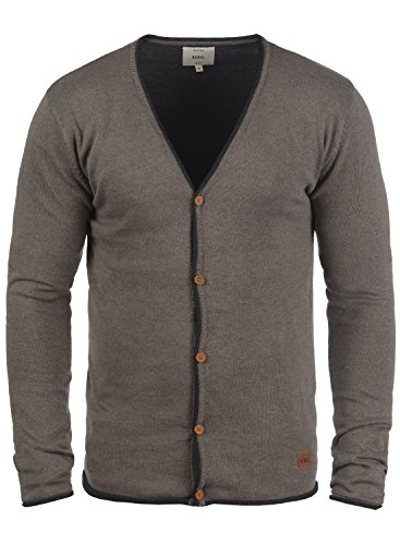 Redefined Rebel Maxen Herren Strickjacke Cardigan Feinstrick Mit V-Ausschnitt und Knopfleiste Aus 100% Baumwolle, Größe:XXL, Farbe:Faded Brown