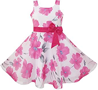 CF11 Girls Dress Pink Floral Party Wedding Boutique Kids Clothing Size 4-5