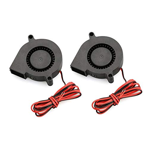 2 PCS Mini Cooling Fan 5015 DC 12V Radial Turbo Blower Fan For 3D Printer black (12v Dc-fans)