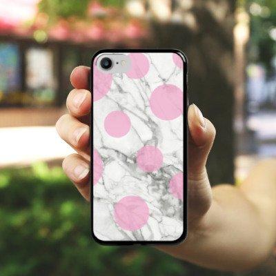 Apple iPhone X Silikon Hülle Case Schutzhülle Marmor Look Marble Punkte Hard Case schwarz