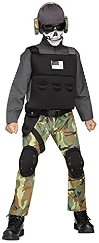 Teenager Kostüm - Totenkopf Soldat - Gr. 158 Army Kämpfer Krieger Camouflage