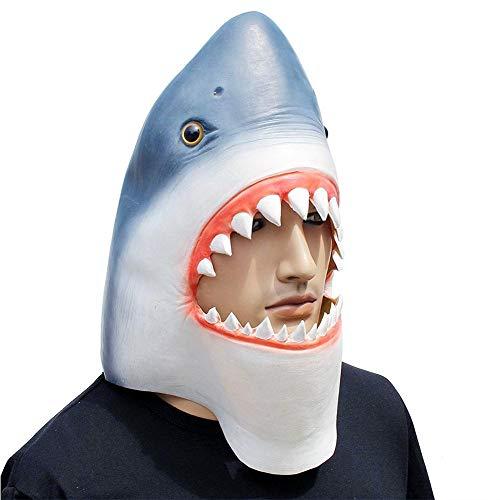 Neuheit Hai Kopf Maske, Halloween Maske Kostüm Party Latex 3D Tier Hai Vollkopf Maske für Erwachsene und Kinder, freie Größe
