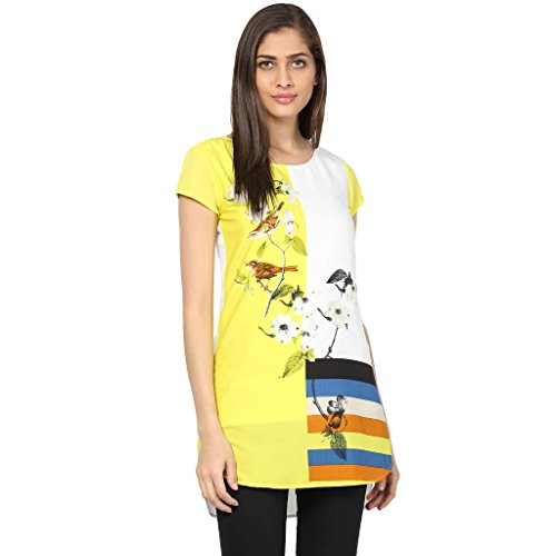 The Vanca Women Shift dress in yellow print  available at amazon for Rs.308