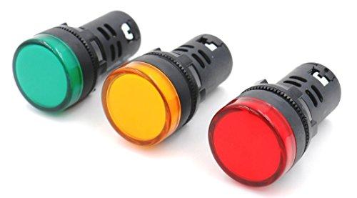 Woljay Voyant indication panneau pilote LED Rouge Jaune Vert 22mm LED Pilote AC 220V 20mA Indicateur de lampe de signalisation 3 pièces