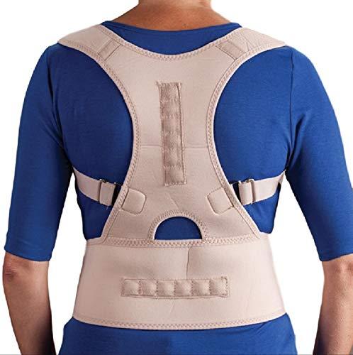 Ducomi Extreme Posture Tutore Posturale Regolabile a Fascia Magnetica per Schiena - Bretella Unisex Supporto e Sostegno Correttivo con 12 Magneti 800 Gauss, Migliora Postura e Dolore (Beige, XL)
