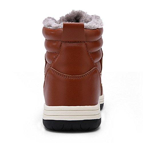 Hibote Hommes Chaussures de Sport à Lacets Sneakers Chaussures Casual Hommes Chaud Rembourré Hiver Chaussures de Course Sneakers Cheville Chaussures Chaudes Waterproof Bottines Taille 39-48 Marron