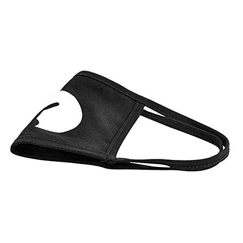 Preisvergleich Produktbild MeredithJo36 Fashion Cartoon Pattern Solid Black Cotton Face Mask Cute 3D Print Half Face Mouth Muth Mask for Cycling Anti Dust Schwarz