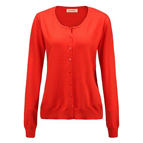 Panreddy Women's Wool Cashmere Classic Cardigan Sweater M Orange Red
