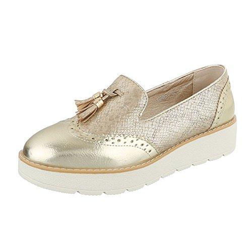Slipper Damen-Schuhe Low-Top Moderne Ital-Design Halbschuhe Gold, Gr 39, 62018-