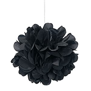 Unique Party- Paquete de 3 pompones pequeños de papel de seda, Color negro, 23 cm (64220)