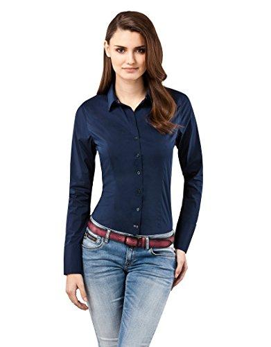 Bluse, slim-fit, uni - easy iron, bügelleicht,36,dunkelblau